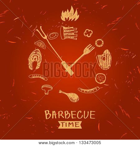 Vector Lettering Hand Drawn Logo With Fire For Barbecue Party.
