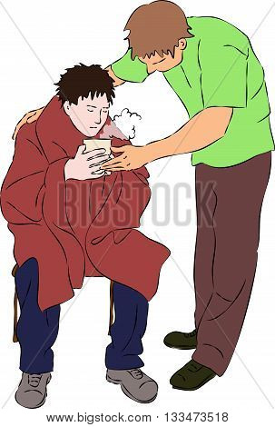 First aid - warm drink and blanket for injured man. Vector