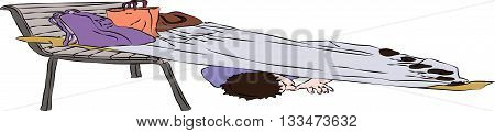 First aid - injured man under foil thermal blanket on street. Vector