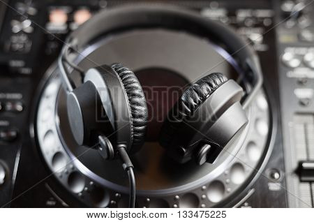 Dj Headphones On Cd Music Player