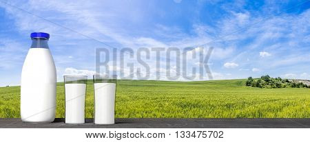 3D rendering of  milk glass bottle and glasses, with green fields and blue sky background.