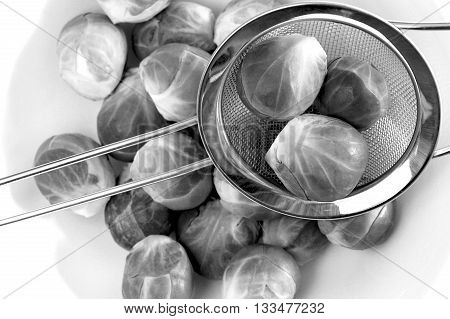 Brussel sprouts: a black and white study.