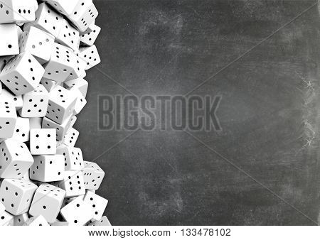 Dices on chalkboard background with copy-space. 3D rendering