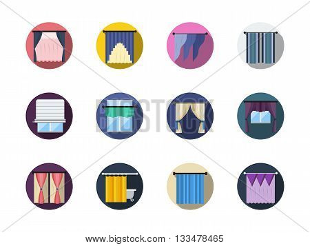 Various blinds and curtains, drapery, shades. Window treatments and decor. Room interior. Round flat color vector icons set. Web design elements for business, site, mobile app.