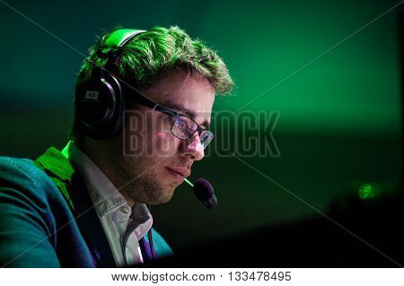 MOSCOW, RUSSIA - MAY 14 2016: EPICENTER MOSCOW Dota 2 cybersport event. Caster and commentator Dmitry LightOfHeaven Kuprianov.