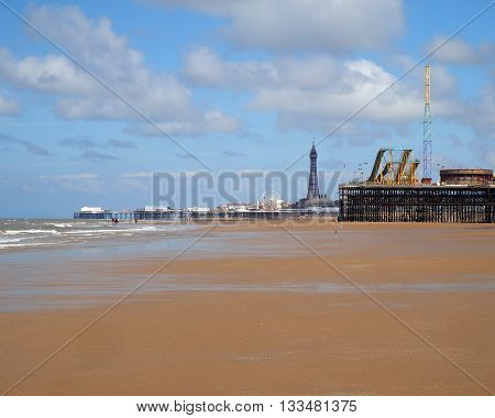 Three Piers at Blackpool with incoming tide