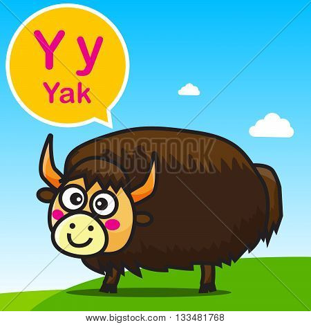 Y Yak animal cartoon and alphabet for children to learning vector illustration eps10