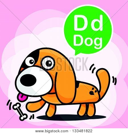D Dog cartoon and alphabet for children to learning vector illustration eps10