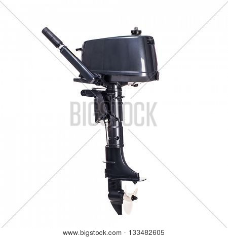 Black motor boat isolated on a white background