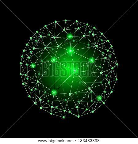 Green internet web envelopes sphere on the black background