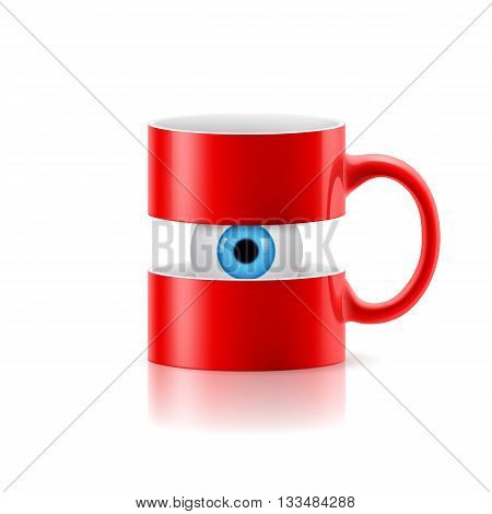 Red mug divided into two parts with a blue eye between them.