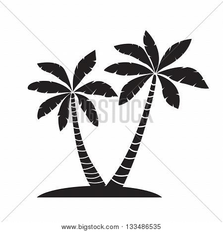 Vector Illustration of Palm Trees. Black Graphic elements.