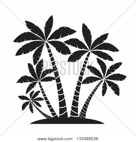 Illustration of Palm Trees. Vector Black Picture.