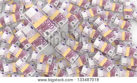 Huge pile of random 500 euro bills with three very huge piles standing out from the blurry background 3D illustration