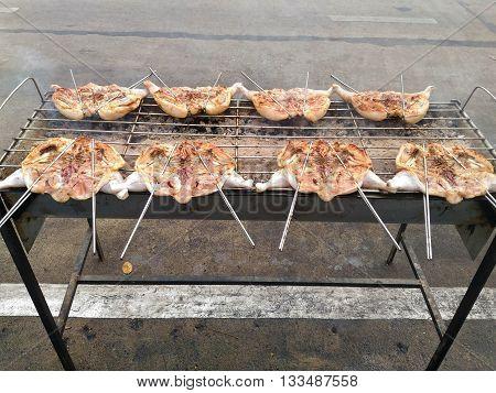 Grilled chicken, barbecue chicken, BBQ chicken in Thailand