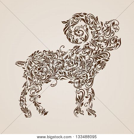 Floral pattern of vines in the shape of a ibex on a beige background