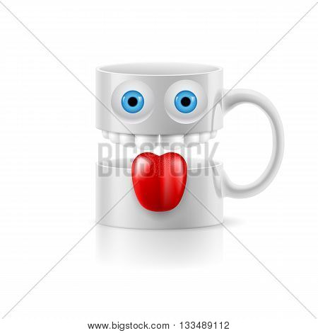 White mug of two parts with teeth tongue and a couple of blue eyes.