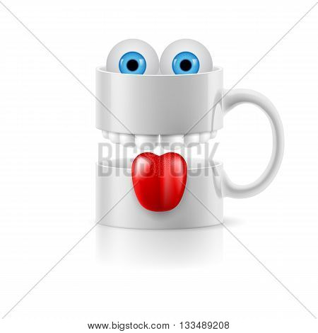 White mug of two parts with teeth tongue and a couple of blue froggy eyes.