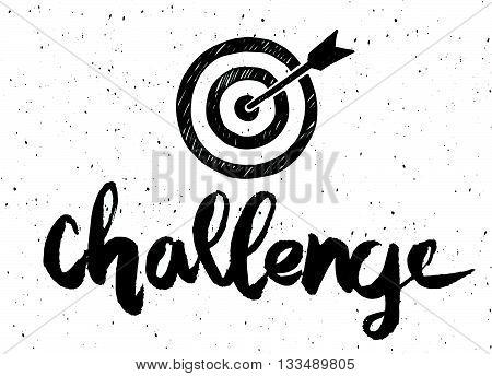 "Handwritten Word ""challenge "" Painted Brush Lettering,typog"