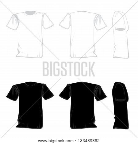 T-shirt template design set. Shirt for front with back and side view.