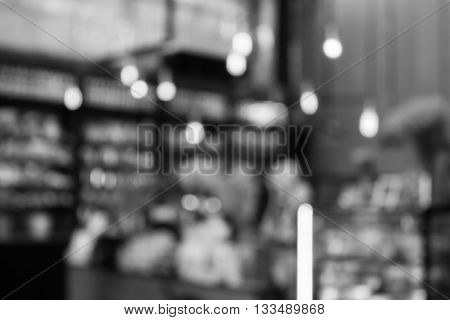 Coffee shop blurred background with black and white tone, stock photo