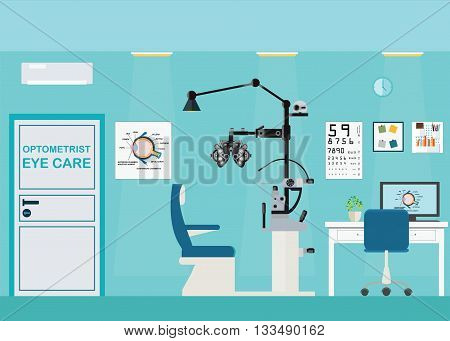 Ophthalmologist interior office with Phoropter ophthalmic testing device machine medical care flat design Vector illustration.