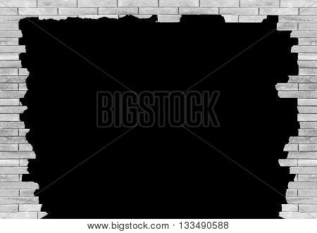 brick wall with hole Isolated on black background for design texture pattern and background.