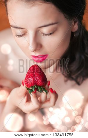 Photo Of Seductive Female Eating Strawberry, Closeup Portrait Redhead Sensual Woman Biting Berry