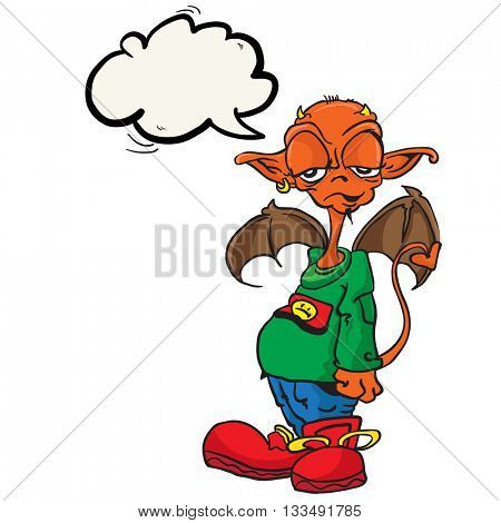 little devil with speech bubble cartoon