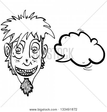 black and white crazy face with speech bubble cartoon