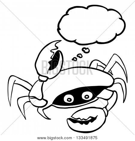 black and white crab with thought bubble cartoon