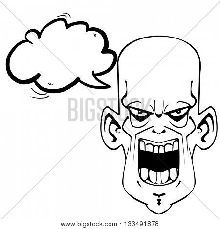 black and white crazy evil face with speech bubble cartoon