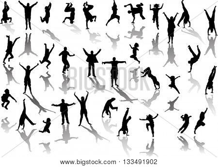 illustration with happy people silhouettes isolated on white background