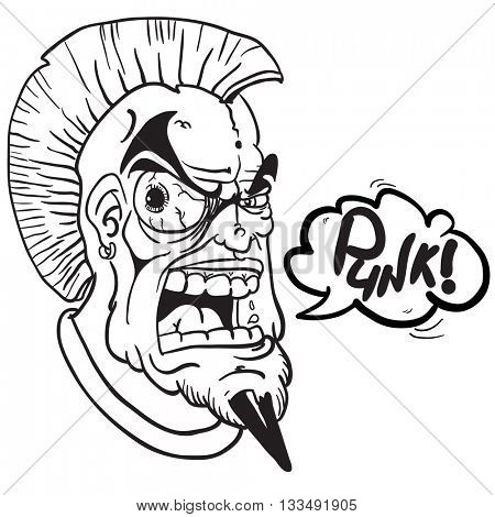 black and white fat punk with speech bubble cartoon