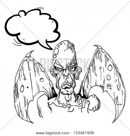 black and white evil demon with speech bubble cartoon