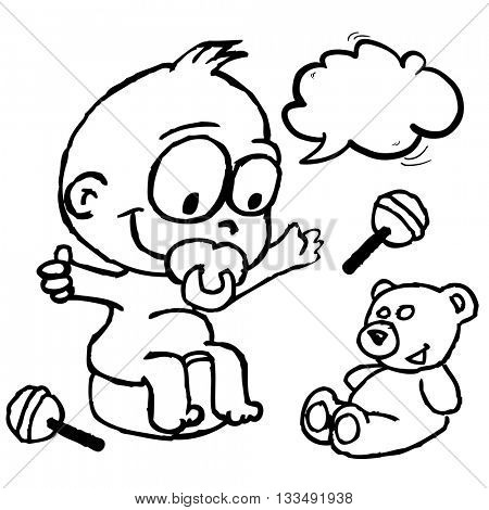 black and white hand drawn baby with thought bubble cartoon