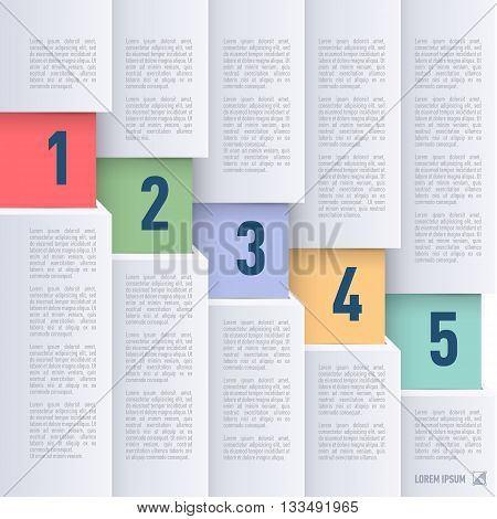 Infographics in paper style with descending colored numbered items from one to five
