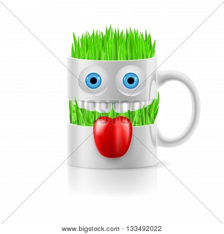 White mug of two parts with teeth tongue and a couple of blue eyes grass inside.