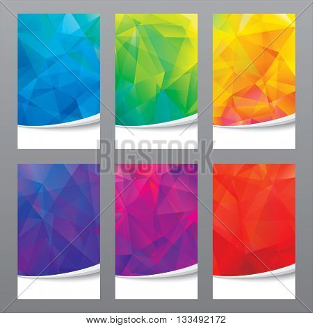 Set of modern geometric colors background.
