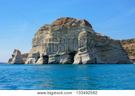 One of the many imposing rock formations with caves at Kleftiko. They were used in the past by pirates for hideouts.
