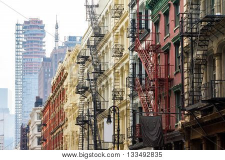 Long row of colorful buildings in the Soho neighborhood of Manhattan New York City