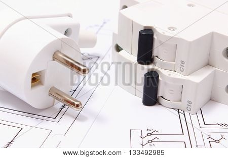 Electric Plug And Fuse On Construction Drawing Of House