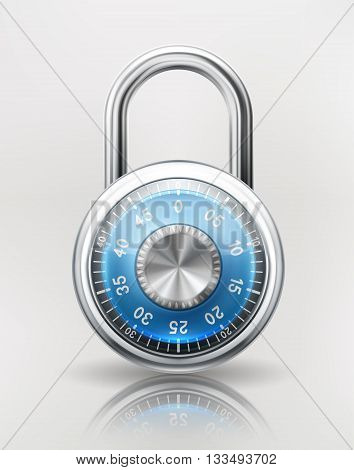 Security concept with locked combination padlock safety icon. EPS 10 contains transparency