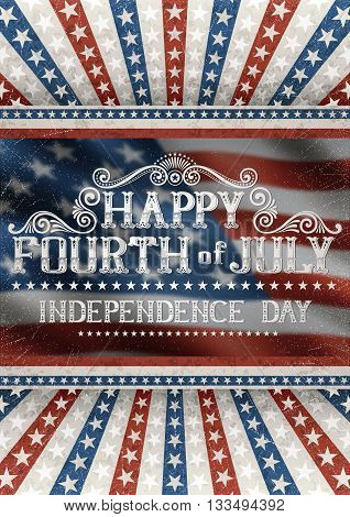 Greeting card for fourth of july holiday with american flag on the background. EPS 10 contains transparency