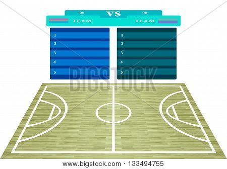 Basketball court hardwood parquet name list scoreboard for design plans to play texture pattern and background Isolated white background