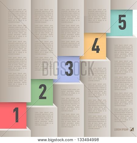Infographics in paper style with ascending numbered items from one to five