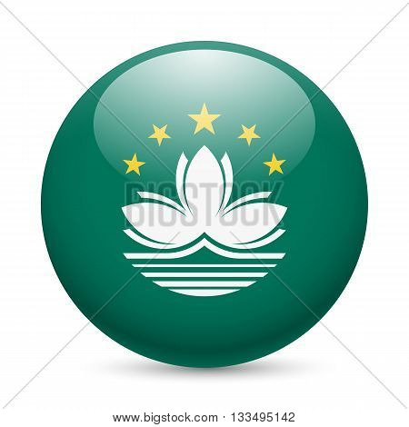 Flag of Macau as round glossy icon. Button with flag design