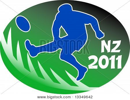 rugby player kicking ball NZ 2011