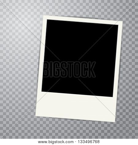 vector vintage blank photo frame with transparent shadow