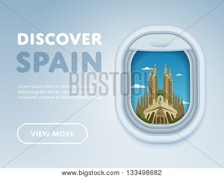 Discover Spain. Traveling the world by plane. Tourism and vacation theme. Attraction of airplane window. Modern flat vector design banner.